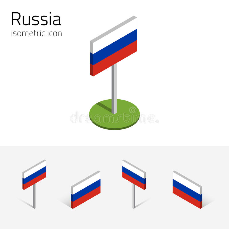 Ryssland flagga, vektoruppsättning av isometriska symboler 3D stock illustrationer