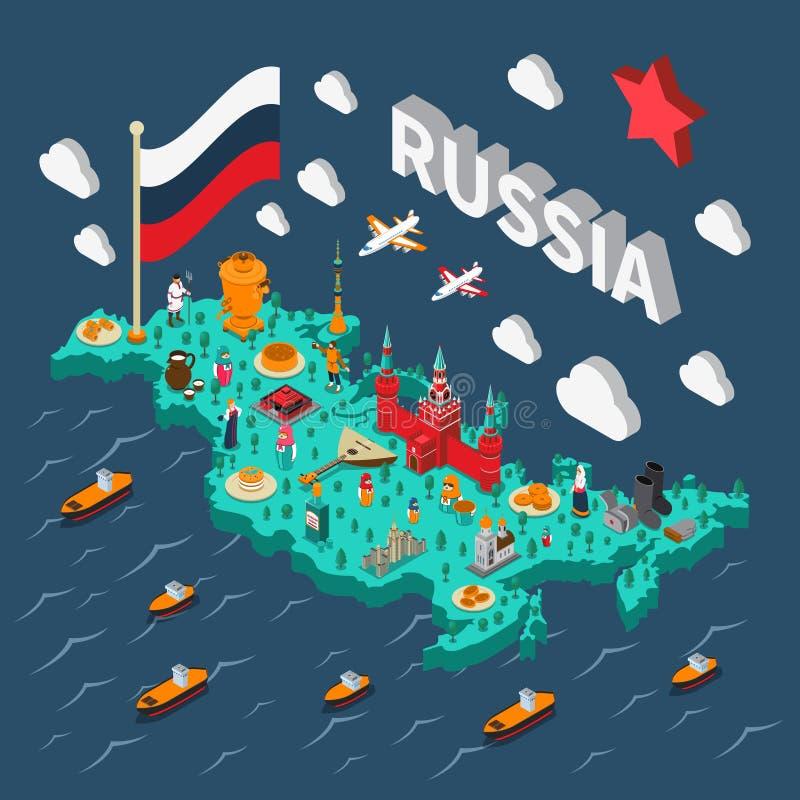 Ryssland isometrisk Touristic översikt vektor illustrationer