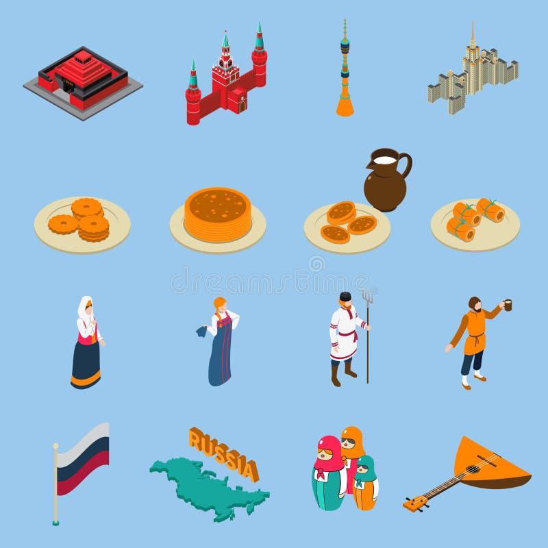 Ryssland isometrisk Touristics symbolsuppsättning stock illustrationer