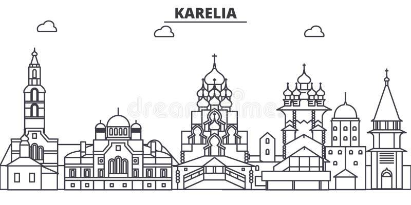 Ryssland Karelia arkitekturlinje horisontillustration Linjär vektorcityscape med berömda gränsmärken, stad siktar stock illustrationer