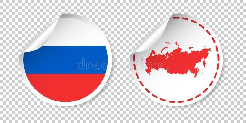 Ryssland klistermärke med flaggan och översikten Etikett för rysk federation, roun vektor illustrationer