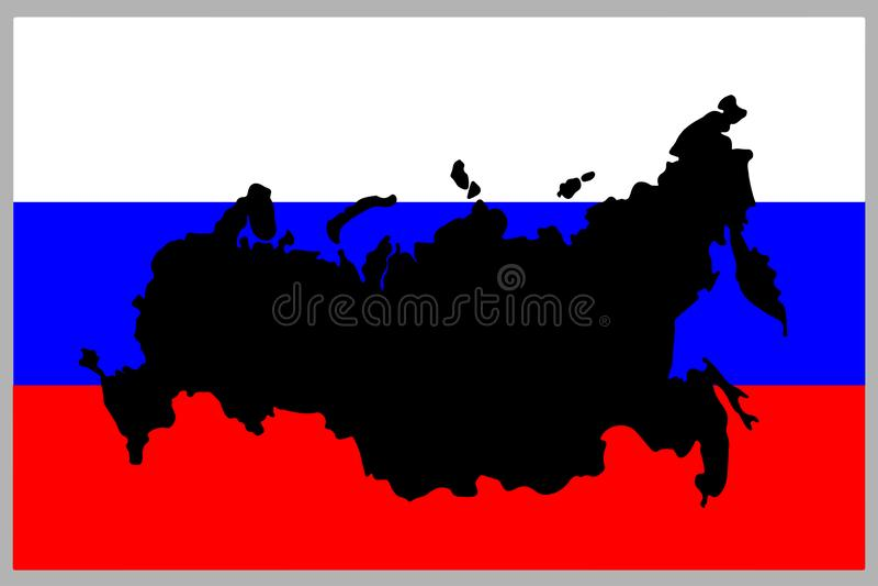 Ryssland konturöversikt i ryssflagga Vektoröversikt för rysk federation på flagga ocks? vektor f?r coreldrawillustration vektor illustrationer