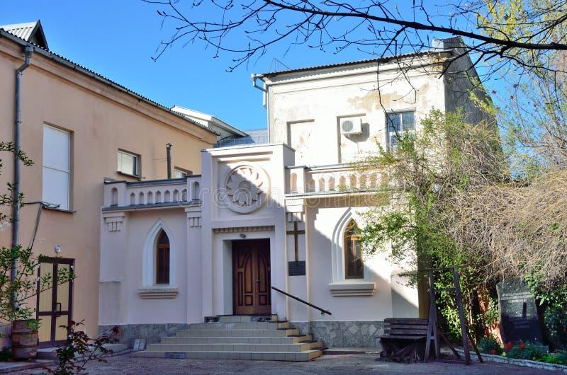 Ryssland Krim Simferopol kyrka för tyskEvang Lutheran på den Ekaterinenskaya gatan arkivfoton