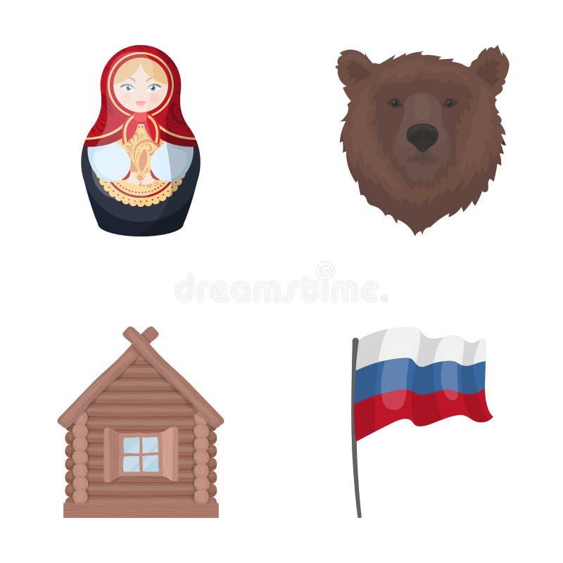 Ryssland land, nation, matryoshka Symboler för samling för Ryssland landsuppsättning i materiel för symbol för tecknad filmstilve stock illustrationer