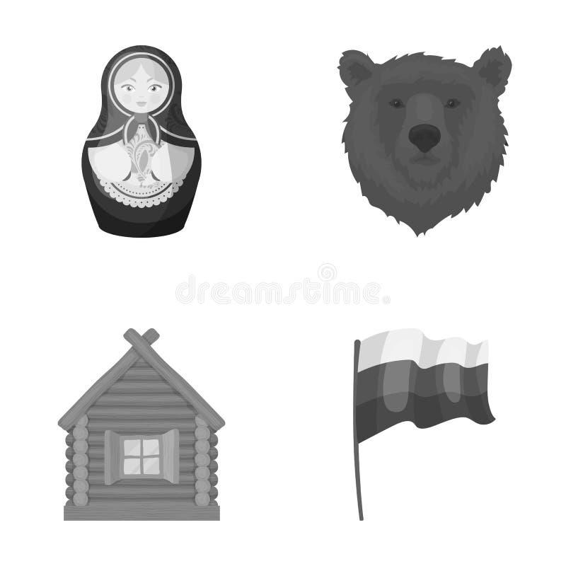 Ryssland land, nation, matryoshka Symboler för samling för Ryssland landsuppsättning i monokromt materiel för stilvektorsymbol royaltyfri illustrationer