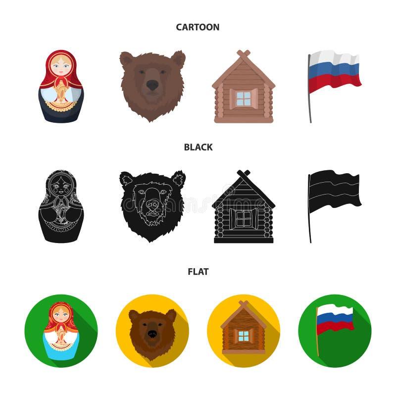 Ryssland land, nation, matryoshka Symboler för samling för Ryssland landsuppsättning i tecknade filmen, svart, materiel för symbo royaltyfri illustrationer