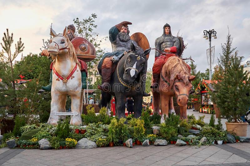 Ryssland moscow hjältar tre Juni 9, 2016 arkivbilder