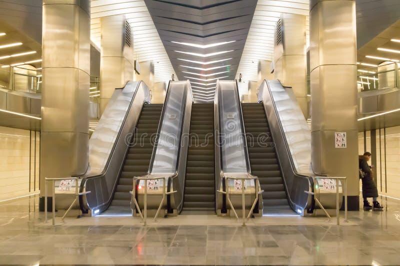 Ryssland Moskva, station för tunnelbana för affärsmitt fotografering för bildbyråer
