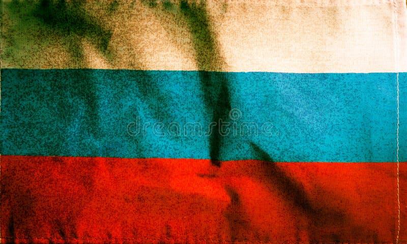 Ryssland nationsflagga, filtrerad tappninggrungefärg arkivbild