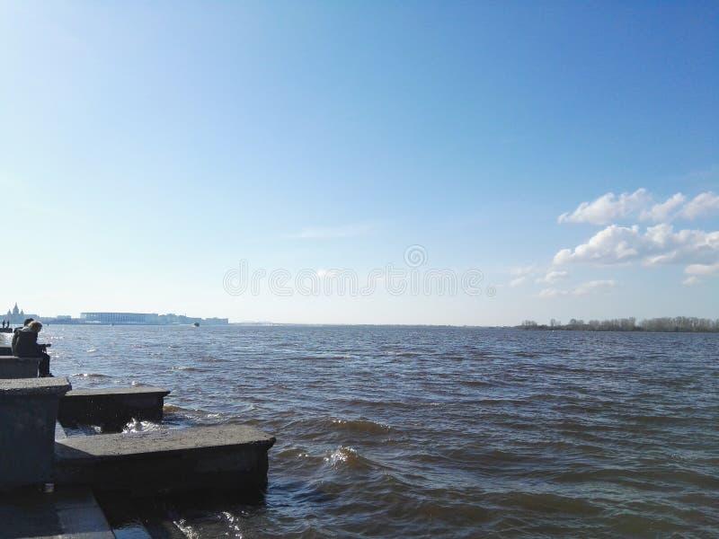 Ryssland Nizhny Novgorod - Maj, 2018 Volga River sikt fotografering för bildbyråer