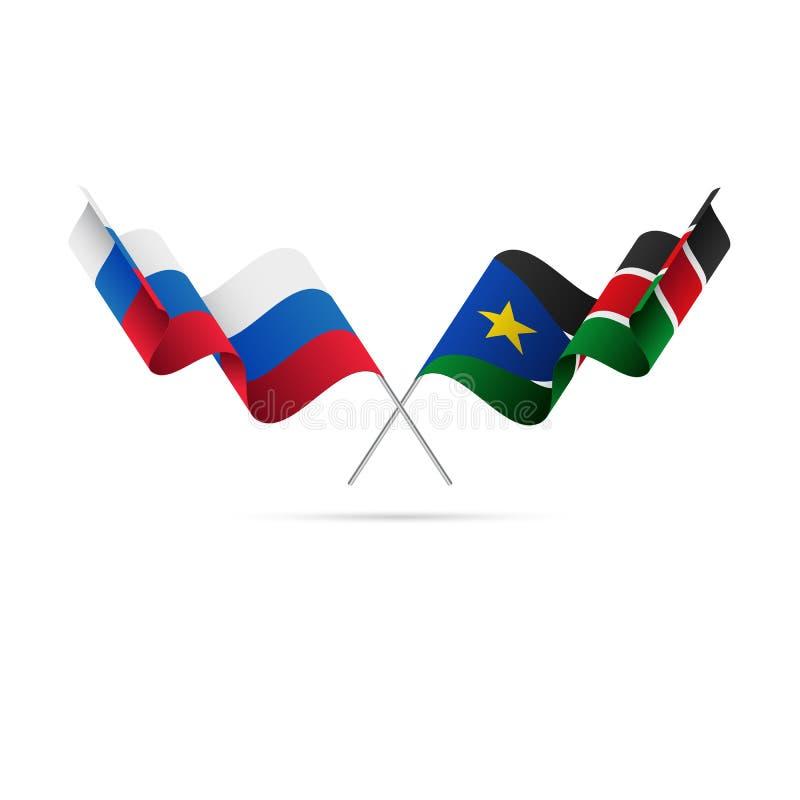 Ryssland och södra Sudan flaggor också vektor för coreldrawillustration vektor illustrationer