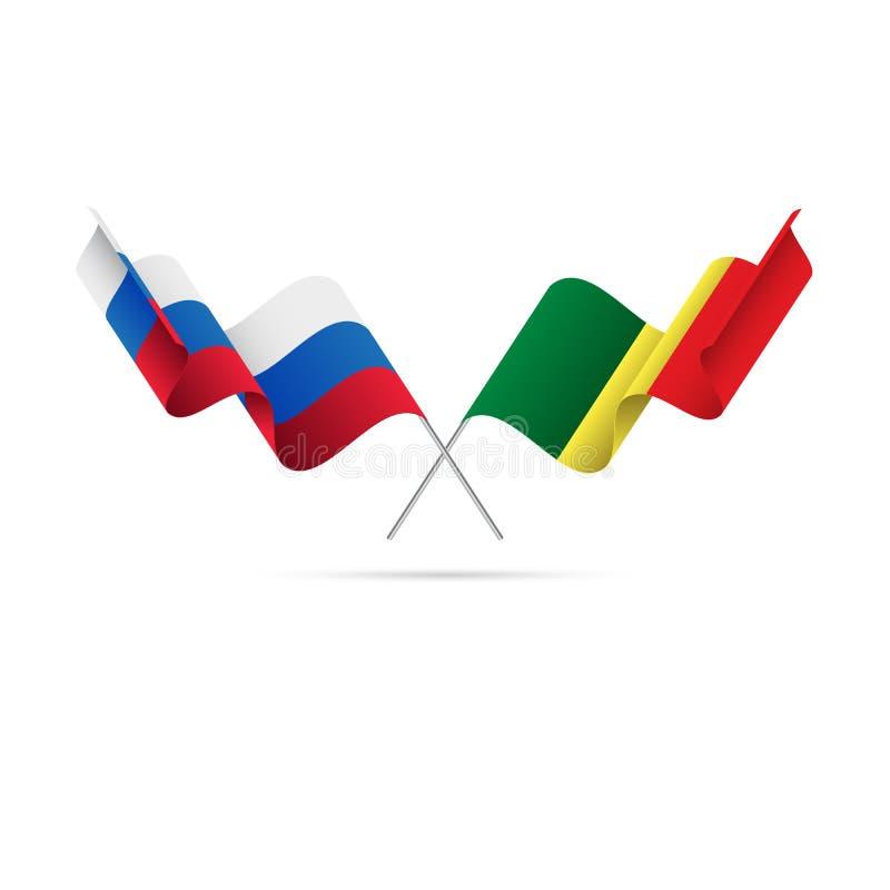 Ryssland och Senegal flaggor också vektor för coreldrawillustration royaltyfri illustrationer