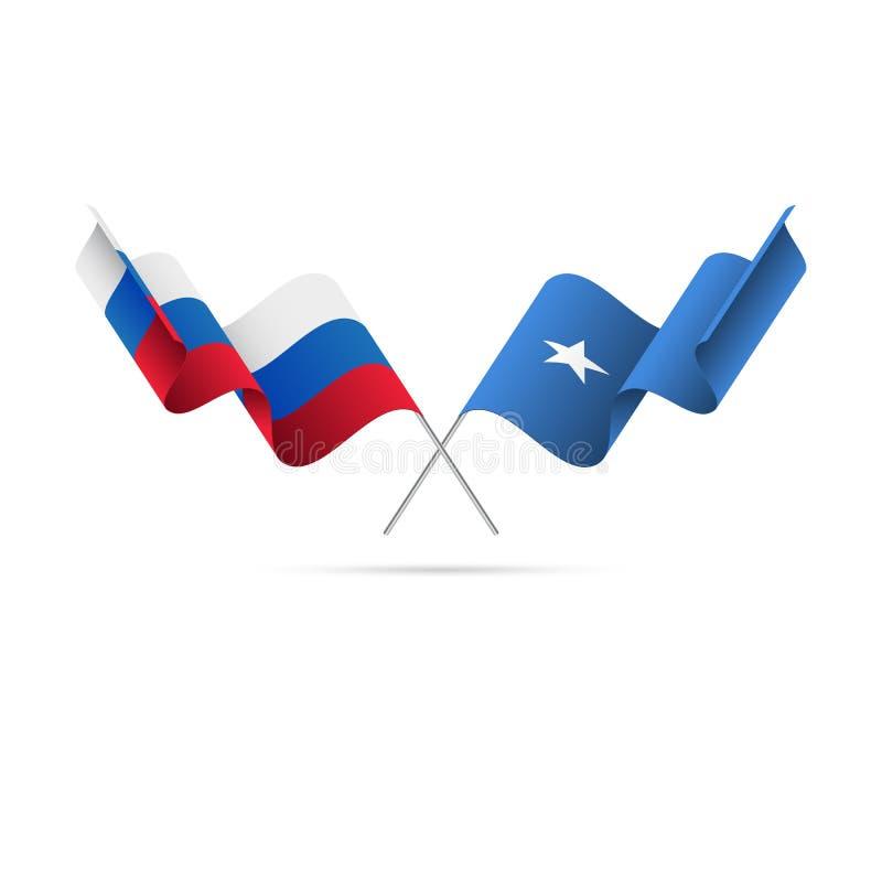 Ryssland och Somalia flaggor också vektor för coreldrawillustration vektor illustrationer