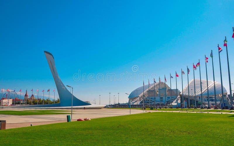 Ryssland - Oktober 2 2018 Sochi parkerar Stadionfotbollarena Fisht royaltyfri foto