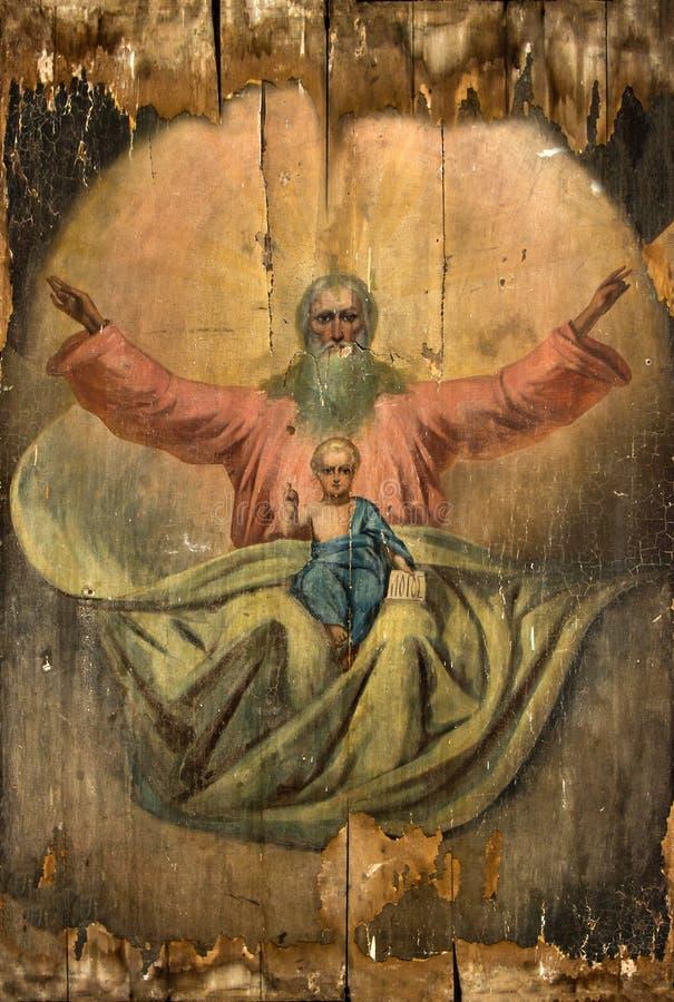 Ryssland Ryazan 1 Februari 2019 - gammal ortodox symbol av det 19th århundradet på träkanfas arkivbilder