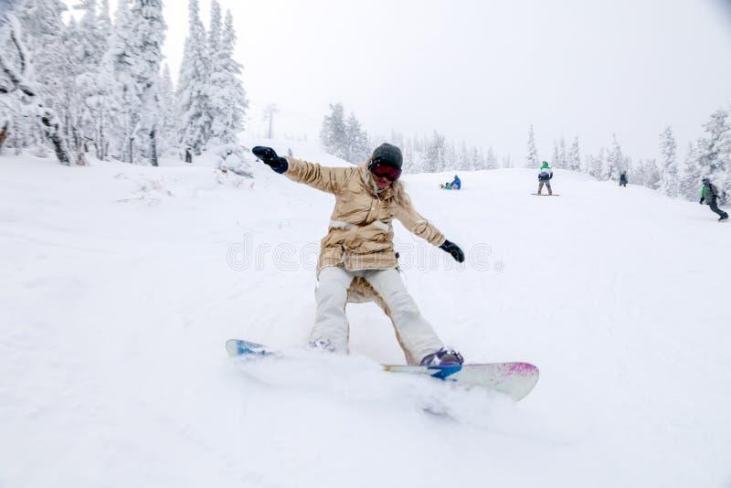 Ryssland Sheregesh 2018 11 Snowboarder för yrkesmässig kvinna 18 i G royaltyfri bild