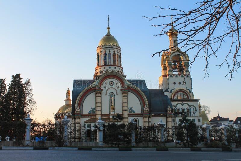 Ryssland Sochi, 25, Januari, 2015: Kyrkan av St Vladimir royaltyfri fotografi
