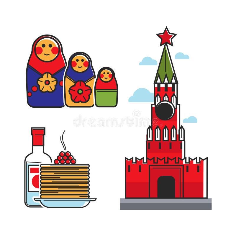 Ryssland Sovjetunionen symboler för symboler för vektor för turist- dragning för lopp för USSR ryska stock illustrationer