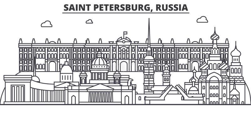 Ryssland St Petersburg arkitekturlinje horisontillustration Linjär vektorcityscape med berömda gränsmärken, stad vektor illustrationer