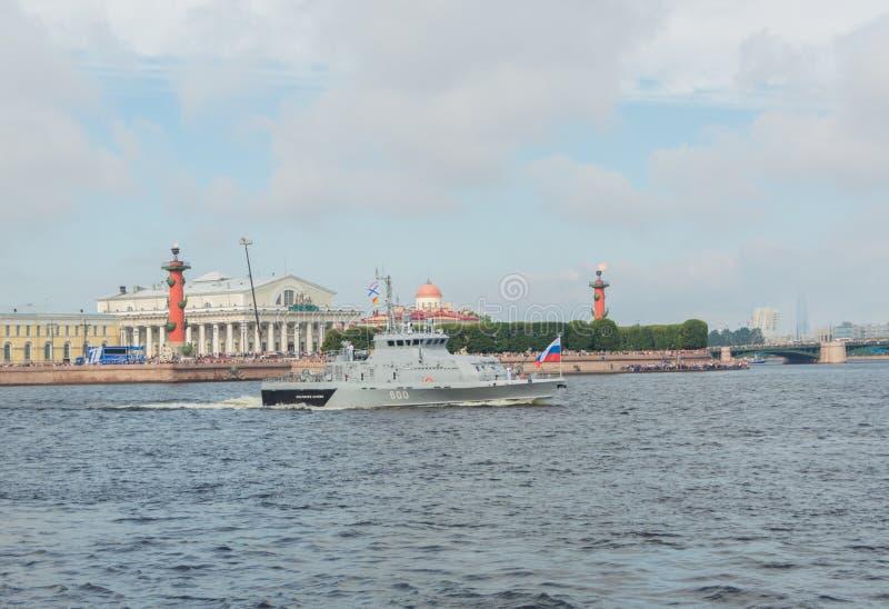 Ryssland St Petersburg, Juli 30, 2017 - anti--sabotage fartyget arkivbilder