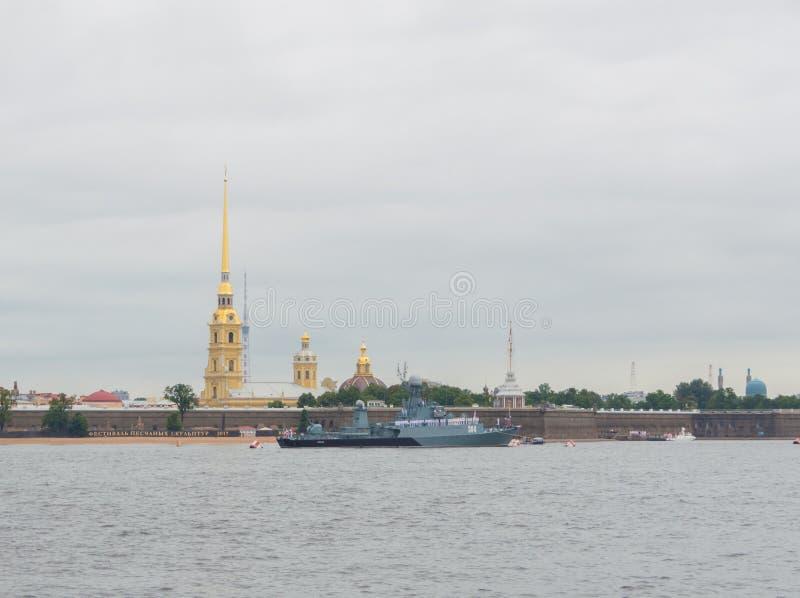 Ryssland St Petersburg, Juli 30, 2017 - liten anti--ubåt s arkivfoto