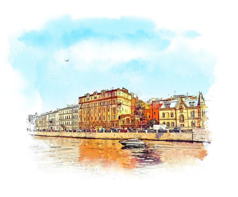 Ryssland St Petersburg, Shuvalov parkerar, sommar da royaltyfri illustrationer