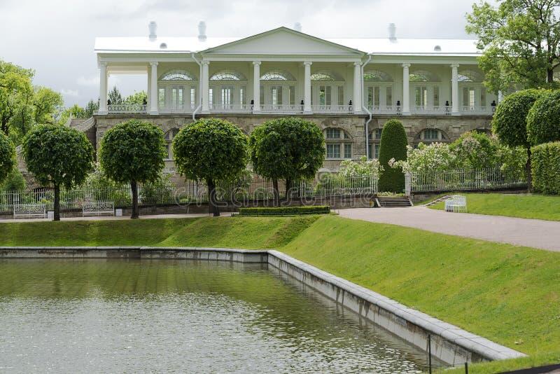 Ryssland St Petersburg Tsarskoye Selo Pushkin Cameron-galleri i Catherine Park arkivfoto