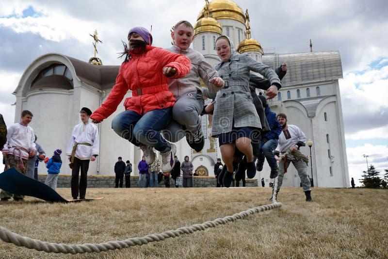 Ryssland stad av Magnitogorsk - April 12, 2015 royaltyfri bild