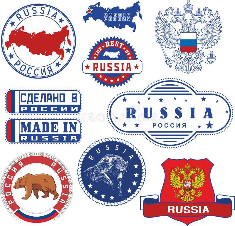 Ryssland Uppsättning av generiskt stämplar och tecken vektor illustrationer