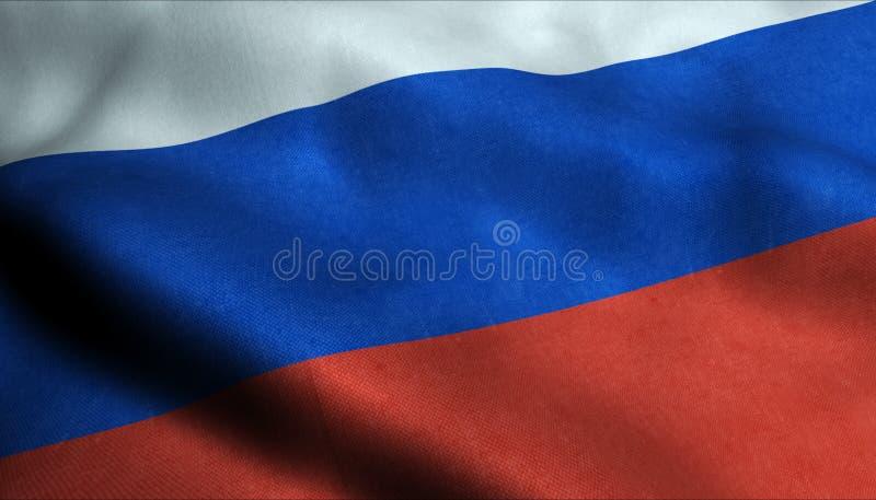Ryssland vinkande flagga i 3D royaltyfri illustrationer