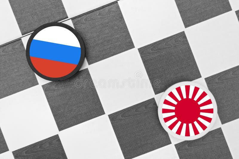 Ryssland vs Japan - problem, spänning, konflikt, sammandrabbning och krig arkivbilder