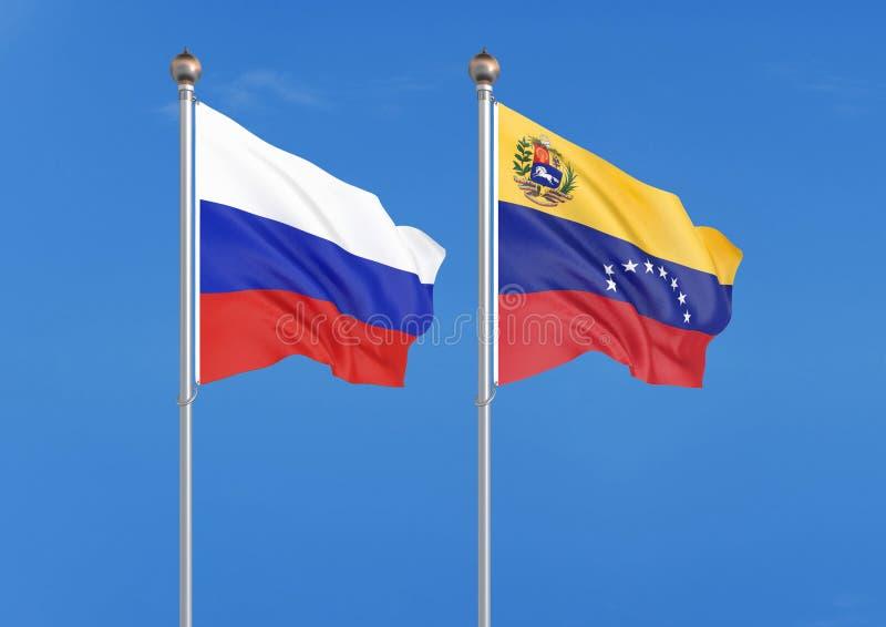 Ryssland vs Venezuela Tjocka kulöra silkeslena flaggor av Ryssland och Venezuela illustration 3D p? himmelbakgrund ?illustration stock illustrationer