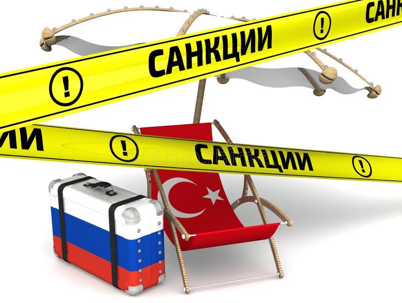 Rysssanktioner mot Turkiet Begrepp stock illustrationer
