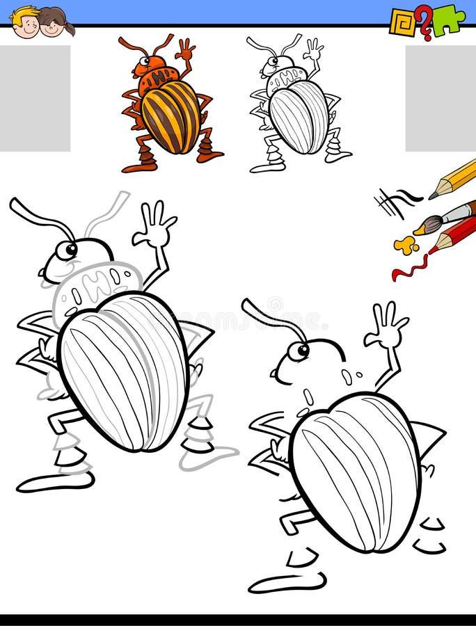 Rysujący aktywność z kartoflaną ścigą i barwiący royalty ilustracja