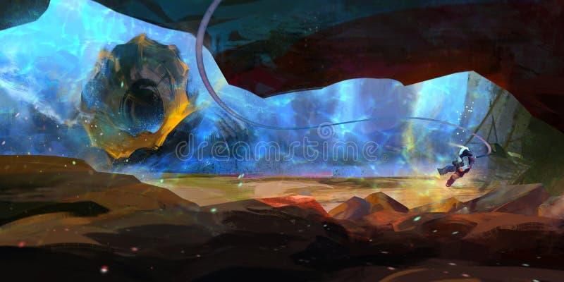 Rysujący fantastycznym podwodnym krajobrazem ilustracji