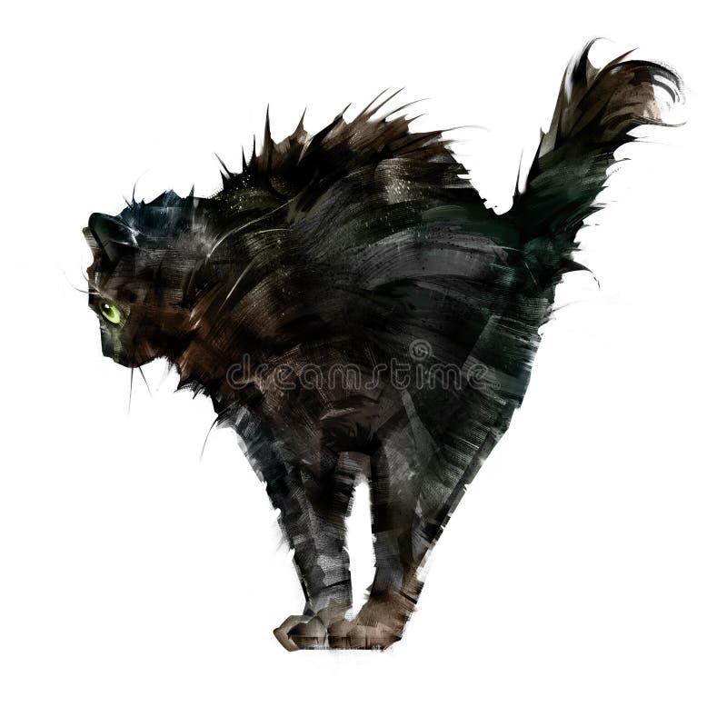 Rysujący napuszony straszny czarnego kota boczny widok na białym tle royalty ilustracja
