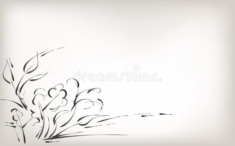 Rysujący ręką, szczotkarską naturą i roślinami, czarny i biały tło obraz royalty free