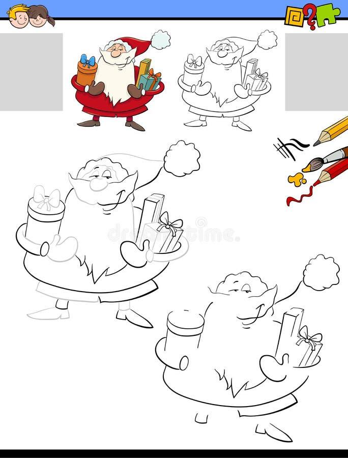 Rysujący worksheet z Święty Mikołaj i barwiący ilustracja wektor
