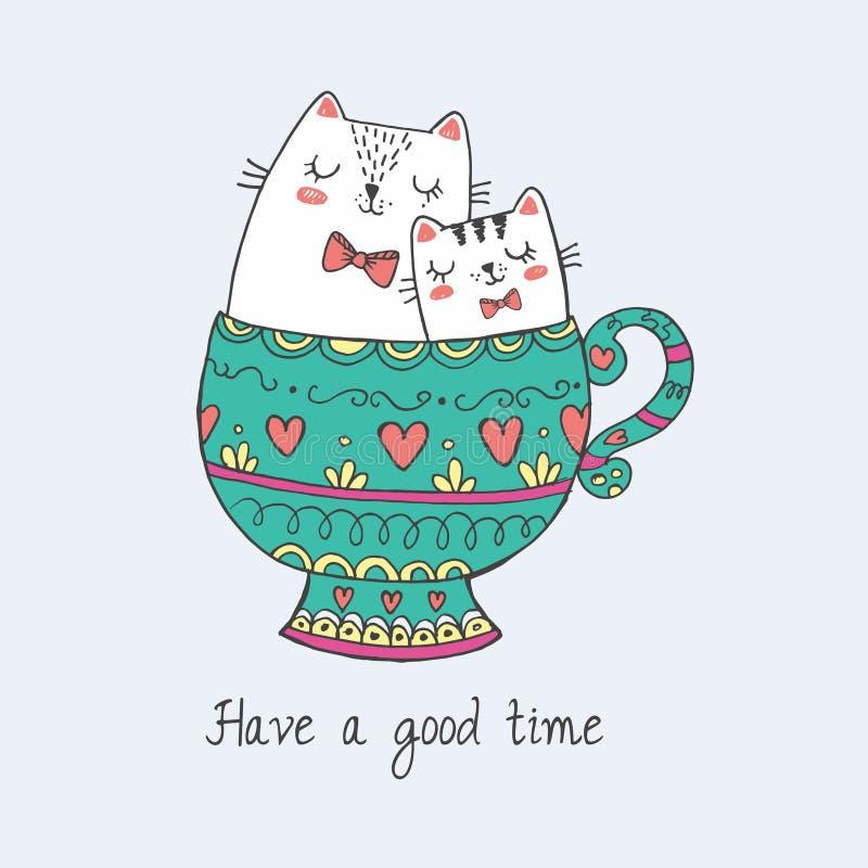 Rysuje charakteru projekta kawaii ślicznego kota w piękno filiżance herbata Odizolowywaj?cy na b??kicie doodle kresk?wki styl ilustracji