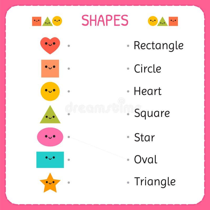 Rysuje kreskowego łączący each postać swój opis Uczy się kształty i geometryczne postacie Preschool lub dziecina worksheet dla ilustracja wektor