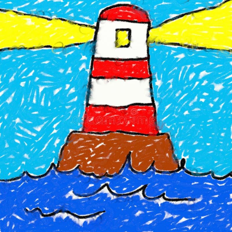 rysuje latarnię morską childs royalty ilustracja