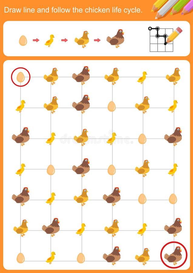 Rysuje linię i podąża kurczaka etap życia ilustracji