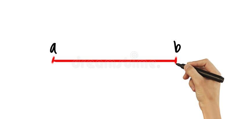 Rysuje linię od A b - męska ręka pisze tekscie na białym tle obrazy stock