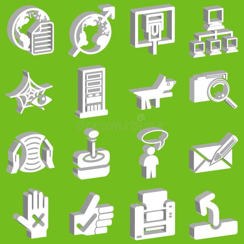rysunek 3 d ikony ustaloną sieć ilustracji