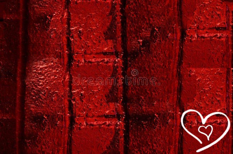 Rysunek dwa serca na czerwieni ścianie dla walentynki ` s dnia obraz stock