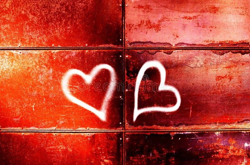 Rysunek dwa serca na czerwieni ścianie dla walentynki ` s dnia obraz royalty free