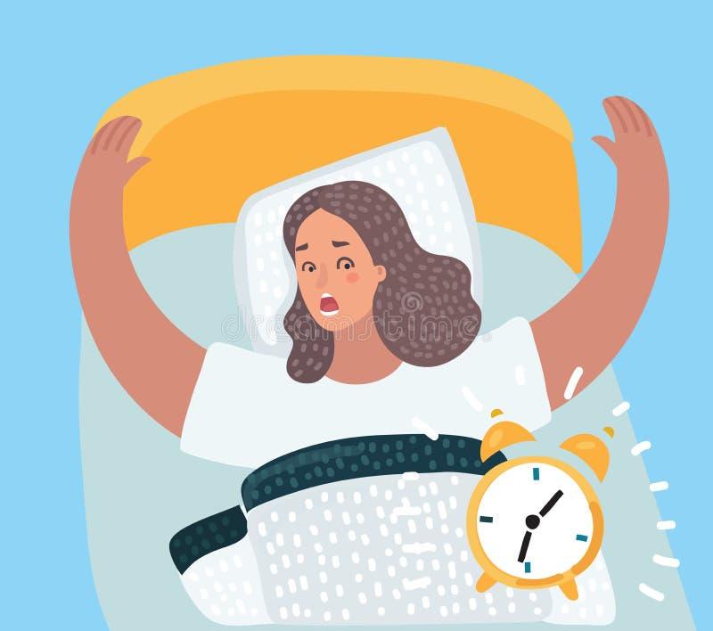 Rysunek dziewczyna budzi się up z alarmem royalty ilustracja
