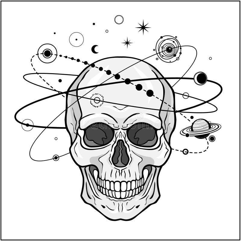 Rysunek mistyczny: Czaszka ludzka, orbity planety, symbole kosmiczne royalty ilustracja