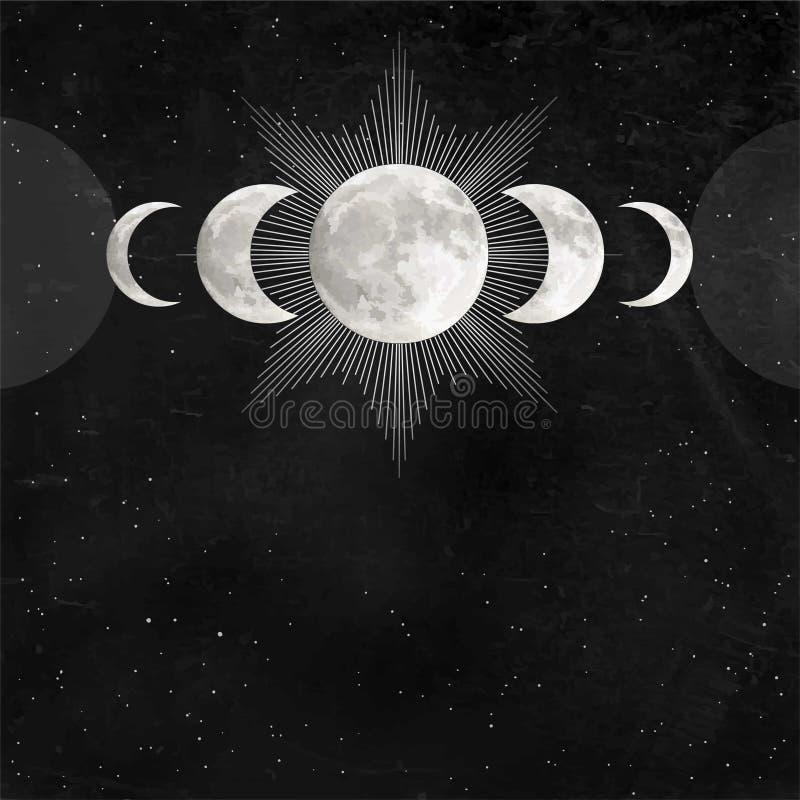 Rysunek mistyczny: Potrójny symbol Księżyca pogański Wicca, pełnia księżyca, fazy księżyca ilustracji