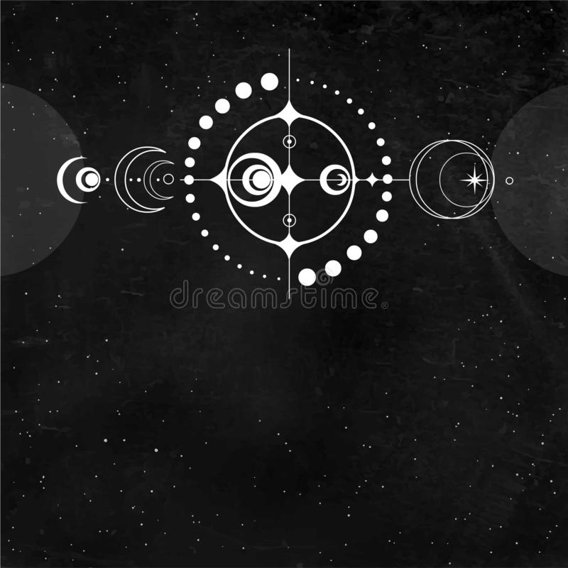 Rysunek mistyczny: przycinanie okręgu UFO, stylizowany system kosmiczny ilustracji
